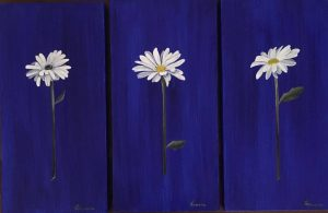 single-daisy-on-ultramarine-blue