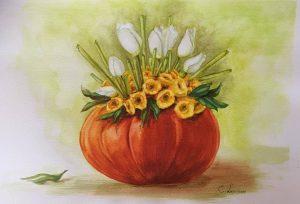 tulips-in-a-pumpkin