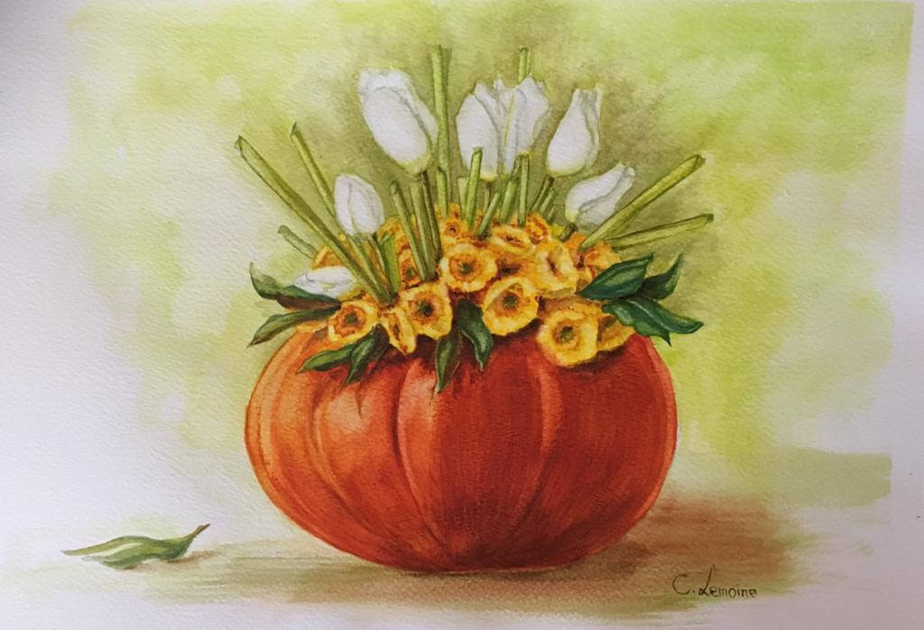 tulips-in-a-pumpkin
